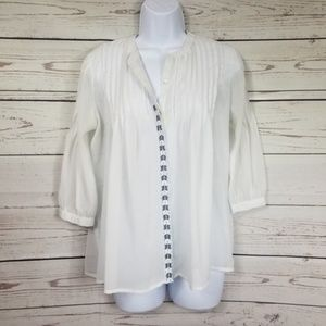 CHARMING CHARLIE sheer button up peplum blouse M
